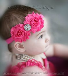 Hot pink Headband Baby Headband Shabby Chic double Headband baby bow newborn headband toddler headband. $7.95, via Etsy.