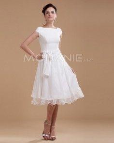 Ceinture belle robe de mariée civile longueur aux genoux  manches courtes