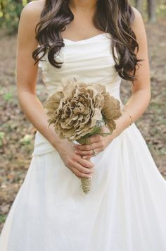 Shabby Chic Burlap Wedding Bouquet by BrittandTyler on Etsy, $35.00