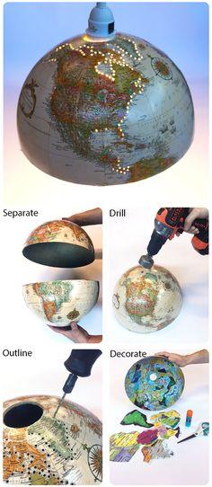 DIY lamp idea – shining new light into an old globe - DIY Desk Ideen World Globe Lamp, Hanging Globe Lights, Old Globe, Globe Art, Globe Crafts, Diy Inspiration, Creation Deco, Diy Hanging, Hanging Lamps