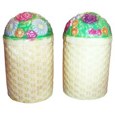 Handpainted Porcelain Floral Basket Style Salt & Pepper Set - Japan