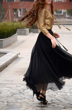 women's black silk Chiffon 8 meters of skirt circumference long dress maxi skirt qz02 on Etsy, $37.99
