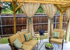 Love these burlap curtains for outdoor and the patio furniture!