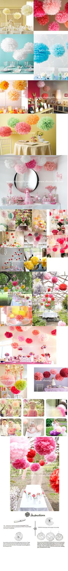 Paper Pom Pom Decor - Wedding Decorations - Wedding Accessories