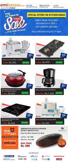 The Ultimate Holiday Sale - Kitchen Special! Discounts Up to 36% + Easy EMIs! Emibazaar.com