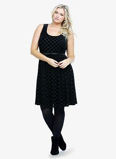 Flocked Polka Dot Dress  SKU : 10058415