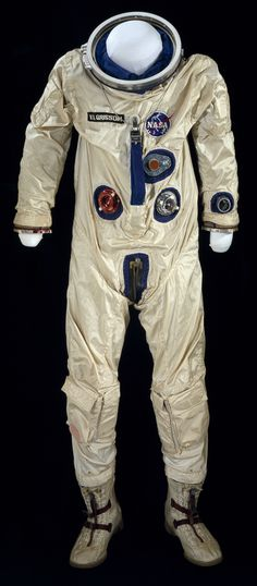 """This G3-C spacesuit was worn by Virgil """"Gus"""" Grissom during the Gemini 3 mission launched on March 23, 1965.  He flew on the three-orbit, five-hour mission with astronaut John Young."""