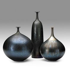 "HIDEAKI MIYAMURA; Three porcelain vases, black Tenmoku crystalline glaze, Kensington, NH; All signed; 15"", 10 1/2"", 10 1/2""; Estimate: $1,000 - $1,500; Winning Bid: $4,687.50"