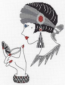 0 point de croix art deco et maquillage - cross stitch art deco lady and make-up