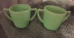 2 Jadite Fire King Two Handled Cups