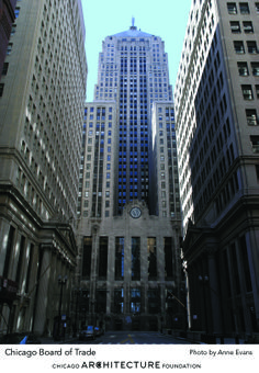 Chicago Board of Trade (1930 by Holabird & Root) — Peer up at the top to see the gleaming aluminum sculpture of Ceres, ancient goddess of grain. The vertical folds of her robe match the vertical emphasis of this Art Deco gem at the base of LaSalle Street. The building's location is the result of a shift in the city's street grid at Jackson and LaSalle and provides a commanding view of Chicago's financial district.
