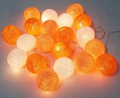 string lights orange tone cotton ball 20 party patio by candoall