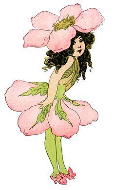 wild rose flower child, Elizabeth Gordon, old book page, vintage flower children poem, vintage storybook printable