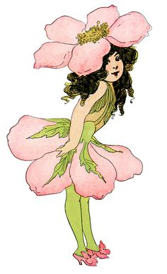 Wild Rose Flower Child ~ Free Vintage Storybook Clip Art