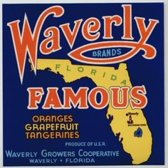 WAVERLY Vintage Florida Citrus Crate Label
