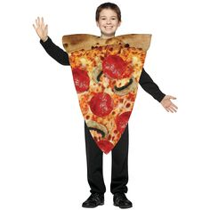 Pizza Slice Child Costume - Yo, make it a slice! Deliver the goods on Halloween in this funny and easy to wear Pizza Slice child costume. The tunic of this pizza costume features Kids Pizza, Pizza Party, Pizza Halloween Costume, Food Costumes, Funny Costumes, Adult Costumes, Costume Ideas, Carnival, Diy Home