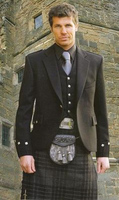 kilt - grey watch + vest & jacket. I can really see me in this. I'm Scottish, so why not.