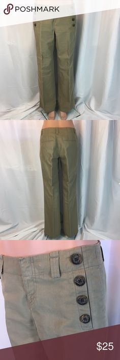 Tan linen pants Ann Taylor Nice tan linen fabric. Sailor buttons on each side. Front zip. Wider leg. Great for work or casual wear. Excellent used condition. Measurements in last picture. Ann Taylor Pants