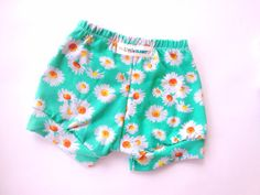 Floral baby shorts toddler cuffed shorts Aqua by TheLittleBunnyCo