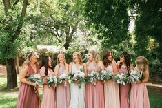 Beautiful bridesmaids in different shades of light pink dresses Pink Bridesmaid Dress Colors, Different Bridesmaid Dresses, Pink Wedding Colors, Bridesmaids, Dream Wedding, Wedding Things, Wedding Stuff, Wedding Ideas, Wedding Entourage