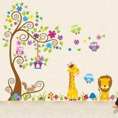Dschungel-Zoo: Eulen auf Baum mit Giraffe und Löwe unter für Kinder Kinderzimmer Rainbow Fox® http://www.amazon.de/dp/B00IJDPZY6/ref=cm_sw_r_pi_dp_yD9sub0ZFHR8Y