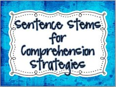 Sentence Stems for Comprehension Strategies Free! - Teaching to Inspire with Jennifer Findley Comprehension Strategies, Reading Strategies, Reading Skills, Reading Comprehension, Reading Resources, Reading Activities, Teaching Reading, Guided Reading, Teaching Ideas