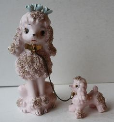 Vintage Pink Porcelain Poodle Figurine with Spaghetti & Gold Accent-w-Puppy-CUTE