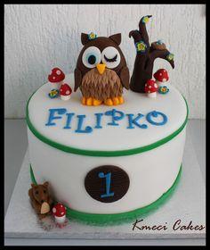 owl cake woodland friends