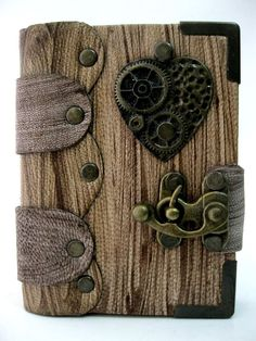 STEAMPUNK HEART AND GEAR HANDMADE LEATHER JOURNAL NOTEBOOK EXTRA MINI SIZE-L