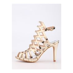SheIn(sheinside) Caged Peep Toe Slingback Sandals - Gold (€32) ❤ liked on Polyvore featuring shoes, sandals, golden, strappy sandals, cage sandals, gold strap sandals, high heel shoes and sexy high heel sandals