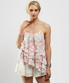 Love this Coral & Ivory Floral Flutter By Tank by Free People on #zulily! #zulilyfinds