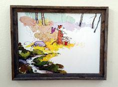 "Calvin and Hobbes Explorers Reclaimed Beach Wood Framed Canvas Print 26 x 20"""