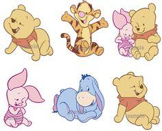 6 x Baby Winnie the Pooh & Friends Mini Iron On Tshirt Transfers