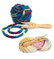 Wooden Knitting Fork with Wool