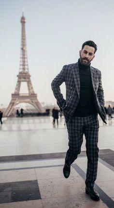 Fall combo inspiration with a black turtleneck black plaid suit black  shoes. model unknown. ad03ec4b1d7