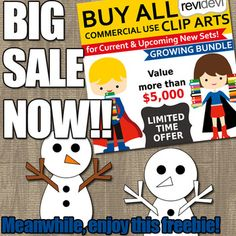 "Snowman clipart free download. Winter clip art freebie. Great for making winter activities and centers. Enjoy! And don't miss out big sale for ""Buy Everything Clipart Growing Bundle"". Buy all commercial use clip art at a very affordable price! Have a Lifetime Access to all commercial use Clipart and Digital Papers! Buy in bundle, and you will save a lot! Link-text goes here"">Link-Buy Everything Clip Art Growing Bundle (lifetime access to all clipart)"