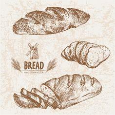 Chalkboard Fonts, Bread Art, Object Drawing, Food Drawing, Pencil Art Drawings, Logo Food, Food Illustrations, Vintage World Maps, Bakery
