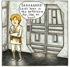 Dark Vador un super papa - Star Wars Meme, Star Wars Comics, Star Trek Humor, Star Wars Cartoon, Star Wars Art, Darth Vader Y Su Hijo, Darth Vader And Son, Luke Skywalker, Super Papa