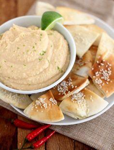 Sriracha White Bean Dip with Sesame Pita Chips