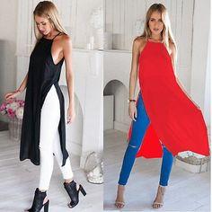 Funky Stylish Two Side High Split Chiffon Dress shirt – SilkRoads Online