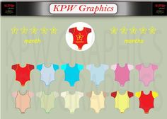 Baby-grow Clip-art Set (various colors) in high quality PNG format. Personal & Small Commercial use