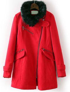Red Faux Fur Collar Oblique Zipper Coat GBP£25.79