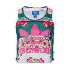 Women's adidas Originals Borboflora Tank ($35) ❤ liked on Polyvore featuring tops, shirts, tanks, crop tops, tank tops, vivid pink floral and adidas