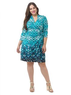 Kaleidoscope Printed Faux Wrap Dress by Jete Available in sizes L-XL and 1X-5X