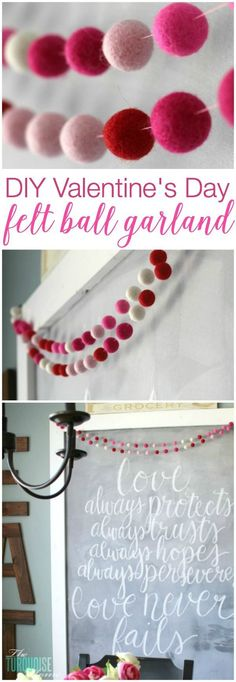 This is TOO cute! DIY Valentine's Day Felt Garland | Tutorial at http://TheTurquoiseHome.com