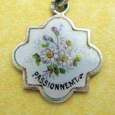 Antique Art Nouveau French Silver Enamel Charm Bouquet of Daisies Passionnemt | eBay