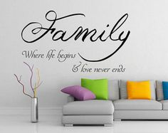 Family Where Life Begins Quote Wall Sticker, Art Vinyl DIY Decal, Home Mural