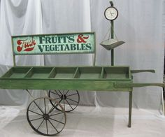 Fruit & Vegetable Cart can be used as a prop or functional . Vegetable Shop, Vegetable Stand, Farmers Market Display, Market Displays, Vendor Cart, Wooden Cart, Produce Stand, Market Stands, Farm Store