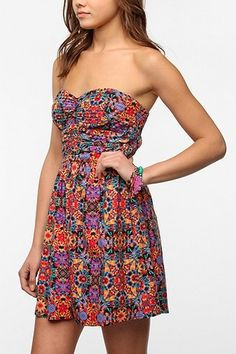 Band Of Gypsies Printed Strapless Dress #smpliving