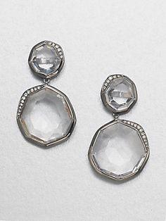 Ippolita Clear Quartz & Diamond Drop Blackened Sterling Silver Earrings